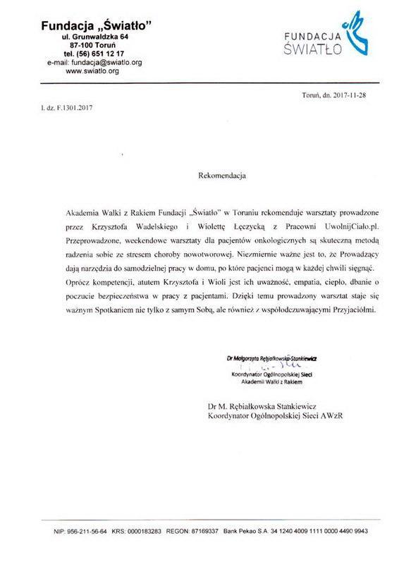 rekomendacja-fundacja-swiatlo-pracownia-uwolnij-cialo-krzysztof-wadelski